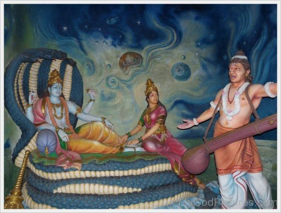 Statue Of Narada,Lord Vishnu And Goddess Lakshmi