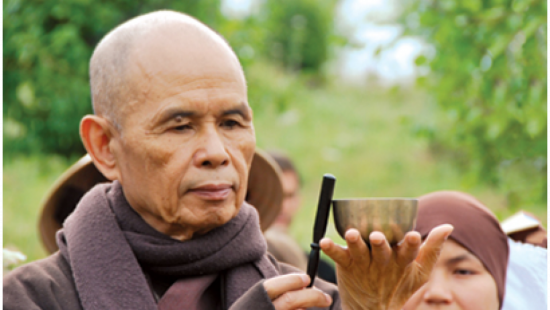 Thich Nhat Hanh Looking At Steel Bowl