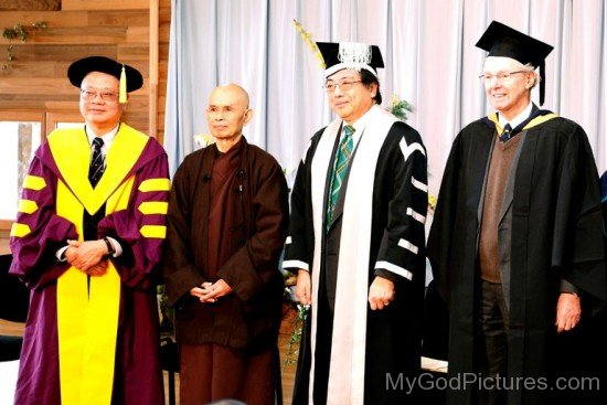 Thich Nhat Hanh With Professors