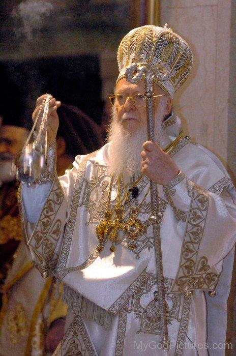 Ecumenical Patriarchs Bartholomew I Holding Crosier