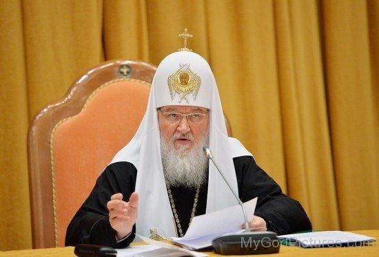 Patriarch Kirill Talking On Mic