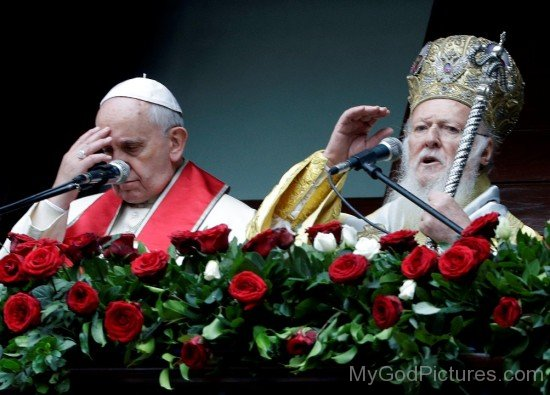 Pope Francis and Patriarch Bartholomew Giving A Joint Blessing