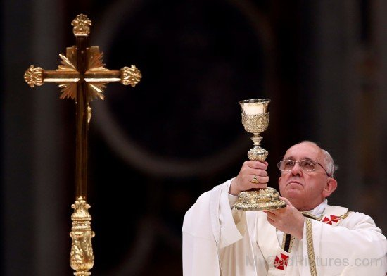 Saint Pope Francis Holding Liturgy Glass