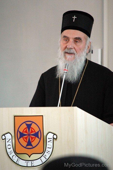Serbian Patriarch Irinej Speaking In Mic
