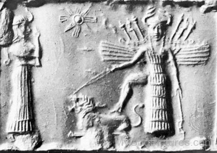 An Ancient Carving Of The Goddess Ishtar With Horned Helmetyu501