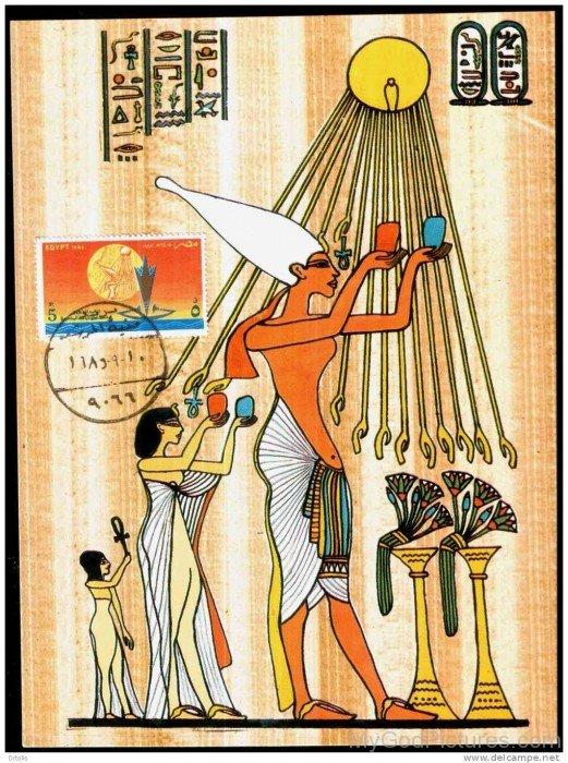 Egyptians Gods Workship God Aten-hj53