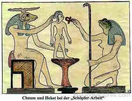 Goddess Heqet And God Khnum At Their Creation Work