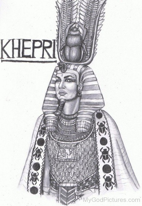 Pencil Sketch Of God Khepri-lk919