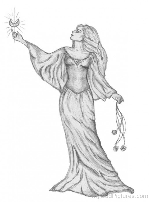 Pencil Sketch Of Goddess Ishtary