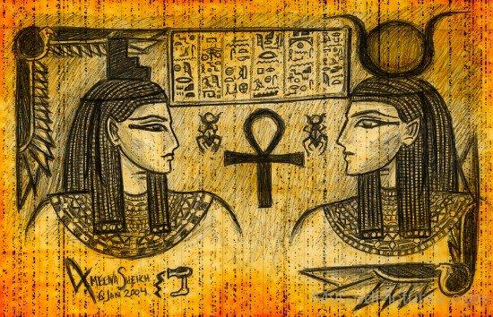 Portrait Of Goddess Hathor And Isis-jk227