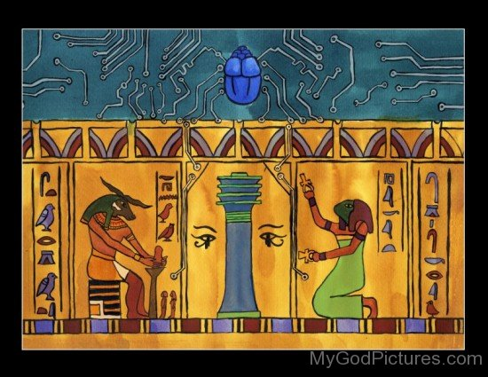 Portrait Of Goddess Heqet And Khnum