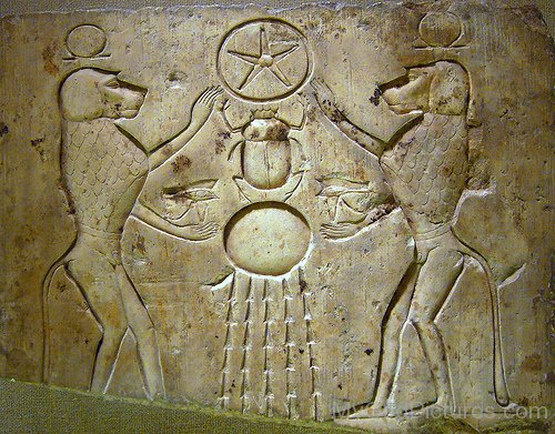 Relief Panel Of Baboons Honoring The God Khepri-lk924