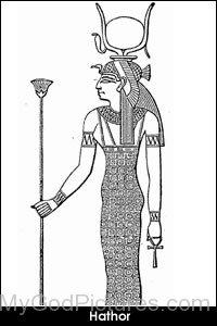 Sketch Of Goddess Hathor-jk232