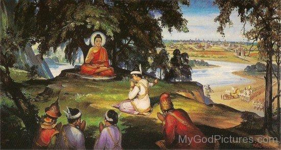 Bimbisara Greets Gautama Buddha