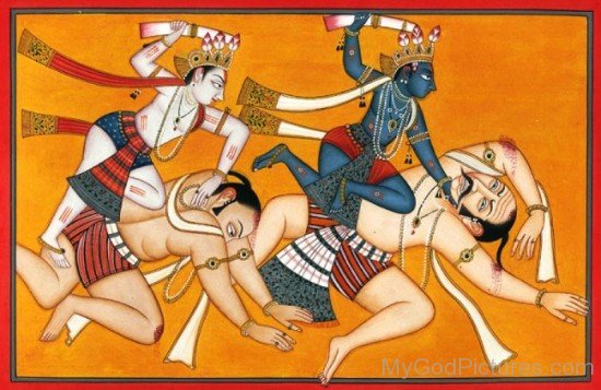 Balarama And Krishna Fighting With Wrestlers-fb502