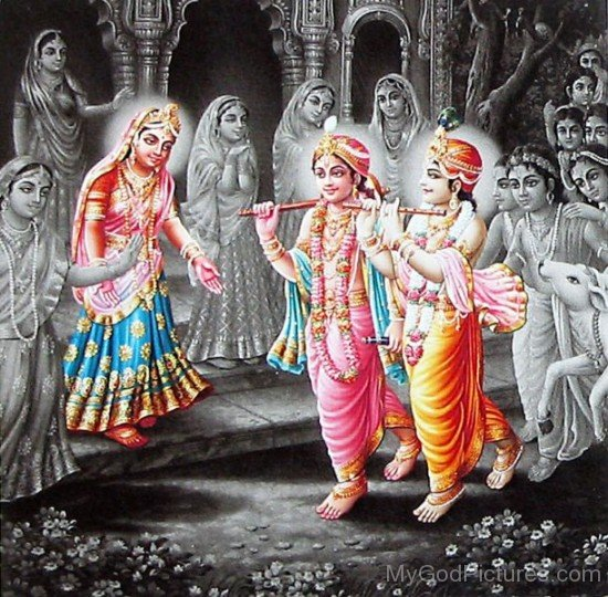 Balarama,Krishna And Radha With Gopis-fb508