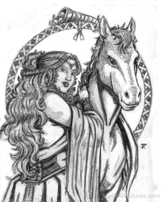 Drawing Of Goddess Epona-fd502