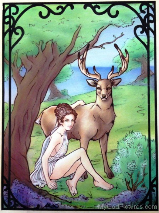 Goddess Artemis With Her Deer-ds418