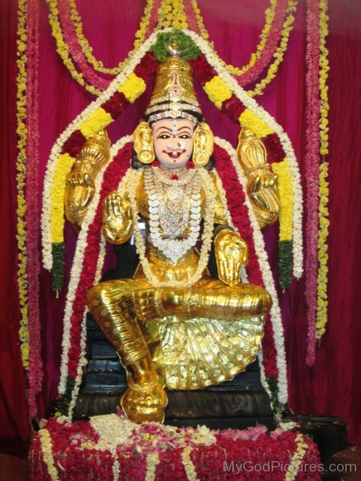 Golden Statue Of Bhuvaneshvari-re810