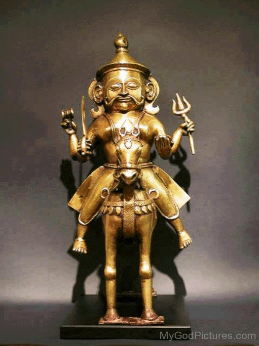 Golden Statue Of Khandoba-ab22