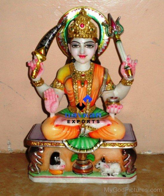 Marble Statue Of Goddess Santoshi-bv907