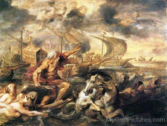 Painting Of God Neptune-mu718