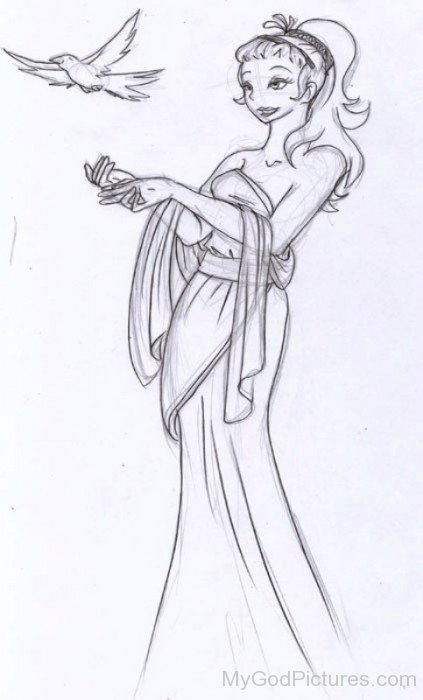 Pencil Sketch Of Aphrodite-wd409