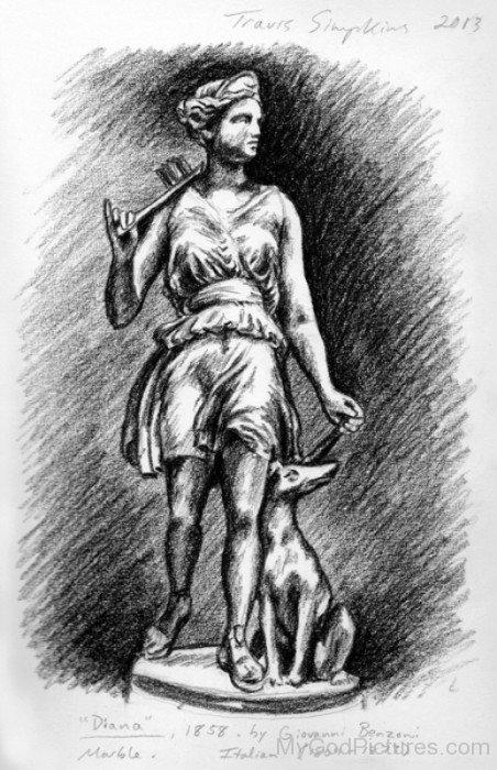 Pencil Sketch Of Goddess Diana-vc120