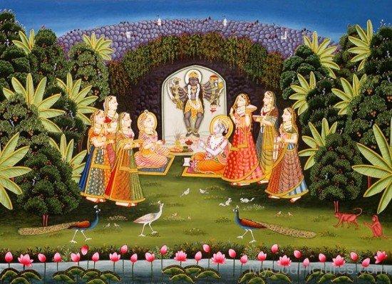 Radha,Krishna And Gopis Worship Mahakali-gm820