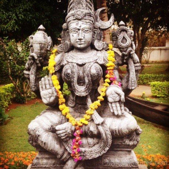 Sitting Statue Of Goddess Bhuvaneshvari-re812
