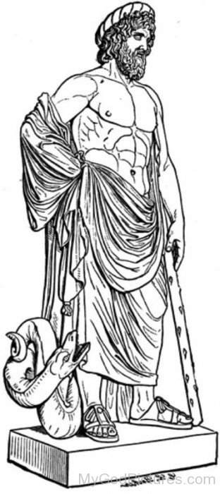 Sketch Of God Asclepius-tb609