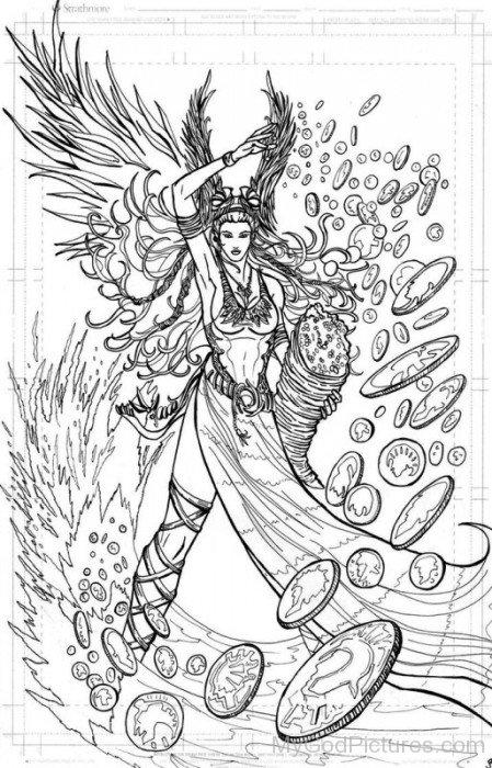 Sketch Of Goddess Fortuna-tb713