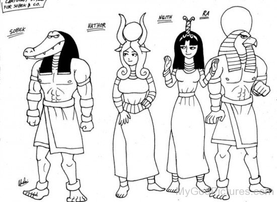 Sobek,Hathor,Neith And Ra-vb519