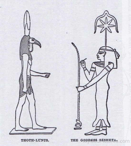 Thoth Lunus And The Goddess Sesheta-hg311