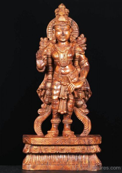 Wooden Statue Of Ayyappan-lp912