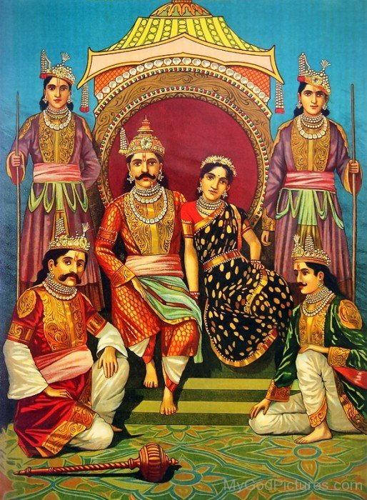 Yudhishthira With Draupadi And His Brothers-vc15