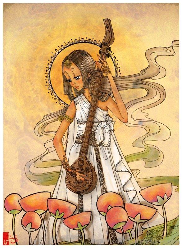 Frame Image Of Goddess Benzaiten-ur406