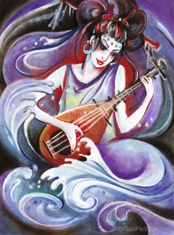 Goddess Benzaiten Painting-ur409