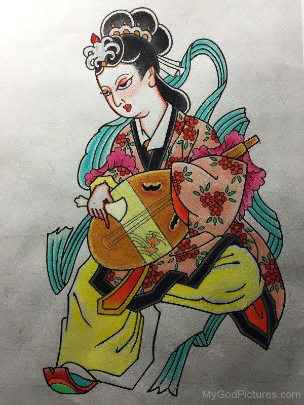 Painting Of Goddess Benzaiten-ur415
